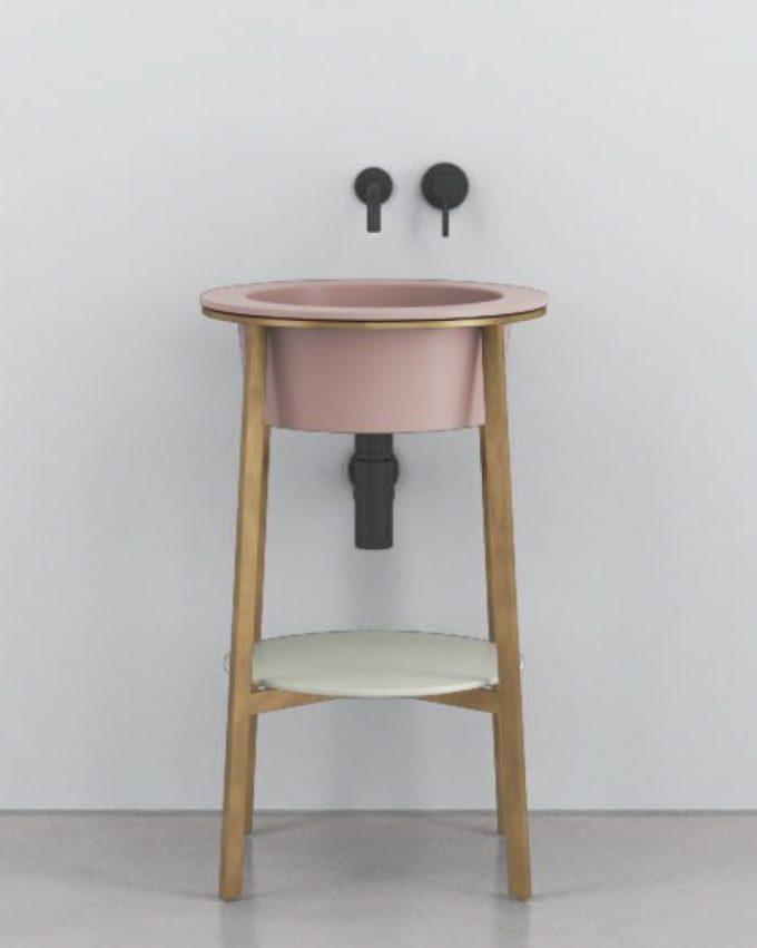 Lavabo Catino Tondo by Cerámica Cielo. Mueble bajo lavabo de pie. Incluye Estructura + bandeja + sifón + válvula negra.