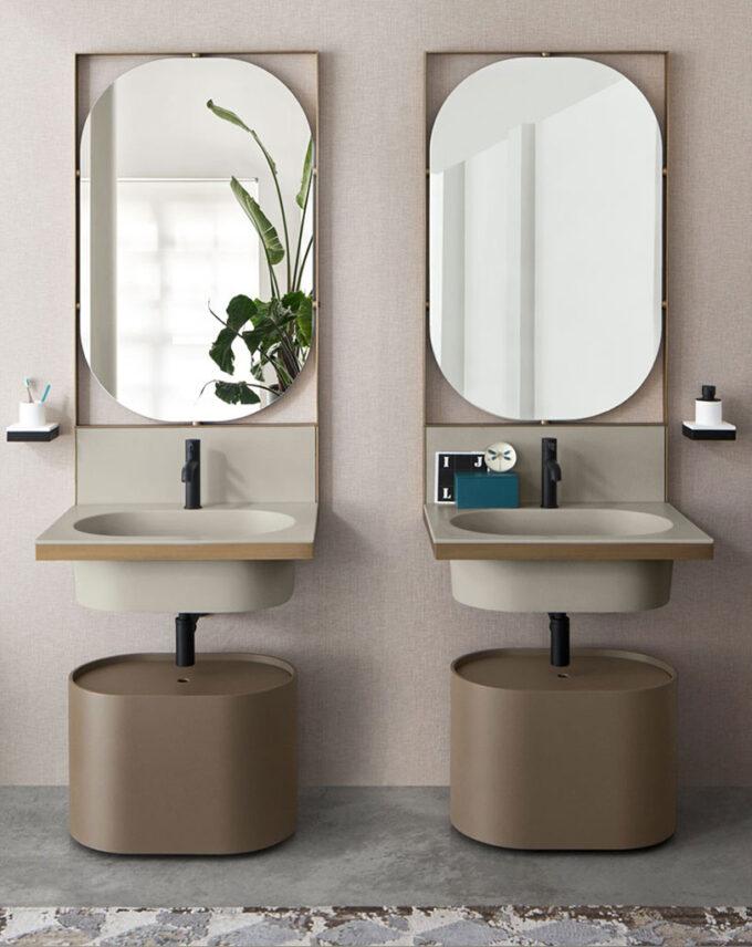 Lavabo Elle Ovale by Cerámica Cielo, simple suspendido de cerámica. Incluye espejo ovalado + Válvula blanca.